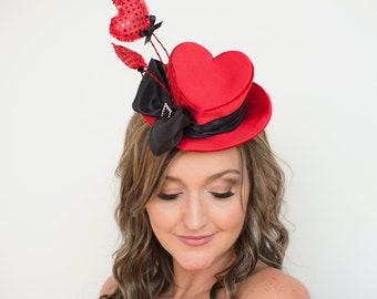 Mini Top Hat, Heart Shaped, Fascinator, red and black