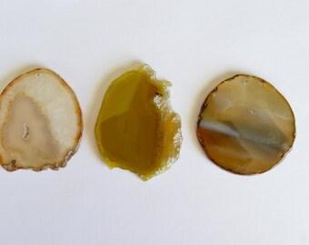 Huge Agate Slice Pendant, Light Brown and White Agate Pendant, Large Agate Slice, Agate Geode Slice Pendant, Stone Pendant (H)