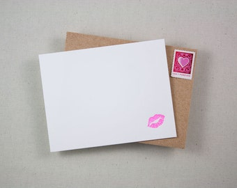 Letterpress Stationery - Kiss Notecards [Boxed Set of 10]