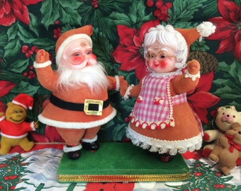 Vintage Flocked Mr & Mrs. Santa Claus on Base