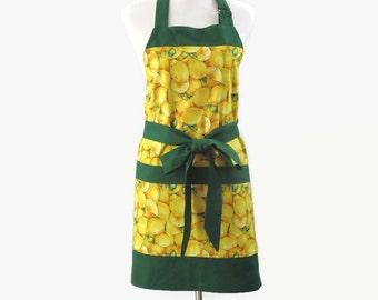 Womens Lemons Apron with Large Pockets, Lemons Personalized Apron, Green & Yellow Apron, Lemon Kitchen Apron, Lemons Kitchen Decor