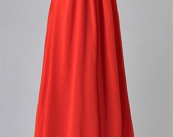 Evening, cocktail, ceremonies, long dress with suspenders, red chiffon, size 44, US size 34