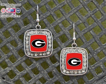 Georgia Bulldogs Square Earrings