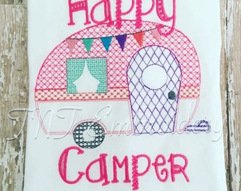 Happy Camper Personalized Embroidery Shirt