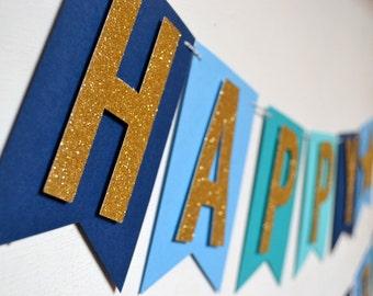 Custom Navy Blue and Teal Gold Glitter Star Boys Birthday Banner 1st Birthday