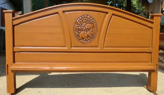 King Amp Queen Size Carved Teak Wood Headboard With Elephants