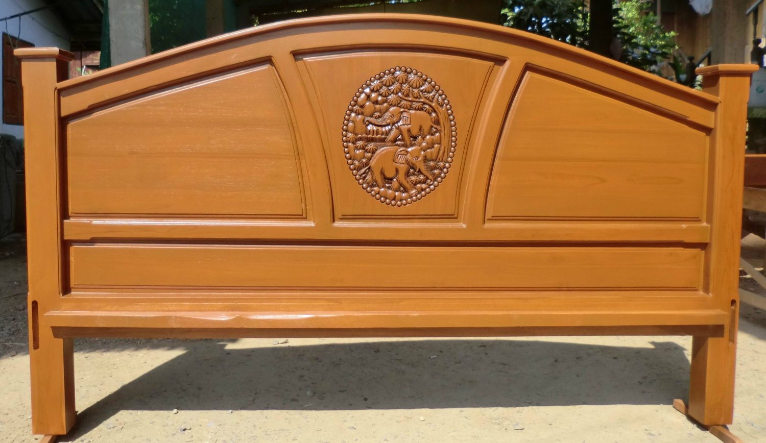 King & queen size carved teak wood headboard with elephants