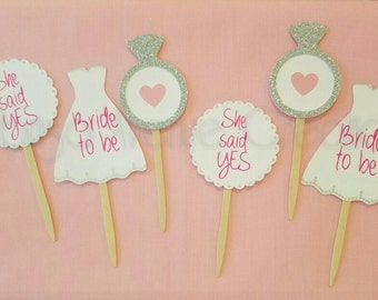 12 Bridal Shower Cupcake Toppers - Wedding Shower Cupcake Toppers - Custom Bridal Shower Cupcake Toppers - Bride To Be Cupcakes Toppers