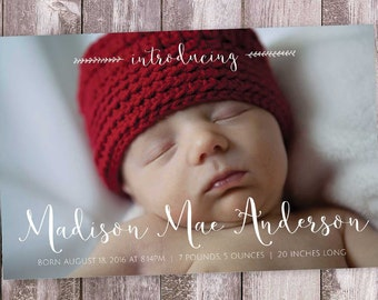 Baby Announcement / Photo Birth Announcement  / Script / Simple / Elegant / Cursive / Introducing / Announcement Card / DIY