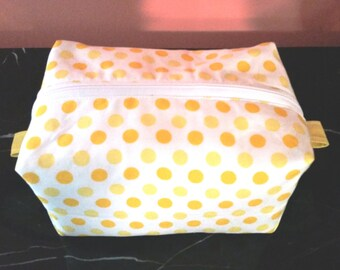Zippered Box Pouch, 7x5x4, washable box pouch, zippered storage pouch, all cotton zippered makeup bag, handmade toiletry bag