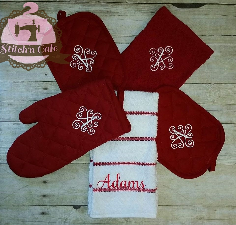 Monogrammed Personalized Kitchen Towel Set By Stitchncafe On Etsy