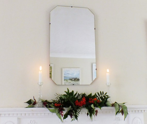Grand miroir ancien miroir Vintage miroir octogonal miroir moderniste ...