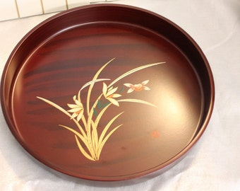 Japanese Round Serving Tray vintage Asian Brown Lotus Flowers Signed
