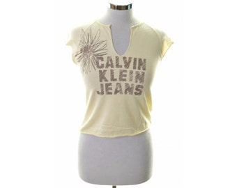 Calvin Klein Womens Top T-Shirt Sleeveless Size 12 Medium Yellow Cotton