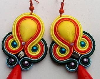 Soutache Earrings Rainbow