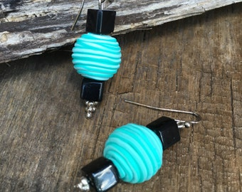 CLEARANCE, ON SALE, fun summer turquoise black dangle earrings, sale earrings, clearance earrings, turquoise drop earrings, bright blue