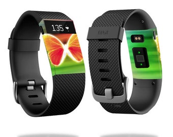 Skin Decal Wrap for Fitbit Blaze, Charge, Charge HR, Surge Watch cover sticker Neon Butterfly