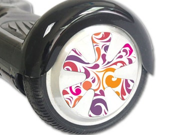 Skin Decal Wrap for Hoverboard Balance Board Scooter Wheels Swirly Girly