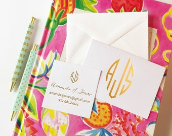 monogrammed stationery set, monogrammed notecards, calling card set, personalized stationery, folded notecards, gold foil stamped notes