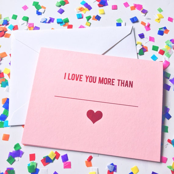 Anniversary card, I love you  more than, Spouse birthday, Greeting card, Just because card, Foil stamped stationery, Hand written note cards