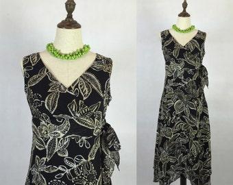 30% Off Summer Sale / Vintage Floral Sundress / Long Dress / Day Dress / High Waist Dress / Size Small Medium