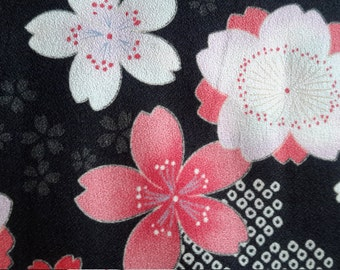 Cherry blossoms. Pink. Crepe weave fabric.Black. Japanese cotton fabric. Fabric by half yard or half meter.