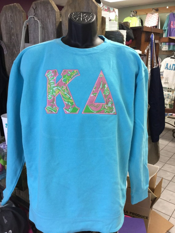 custom sorority letters sweatshirt with 6 lilly pulitzer letters in your greek letters
