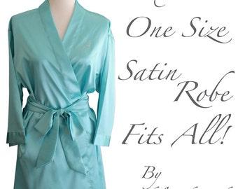 WEDDING SEASON SALE - Aqua Robe - Satin Robe Blue - Blue Robe - Robes for Bridesmaids - Bridesmaid Gifts - Personalized Gift - Set of 1,2,3