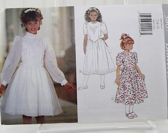 Girl's Dress Pattern short or long sleeve, Uncut Sewing Pattern, Butterick 3867, Size 7-8-10