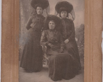 Three Women in Mourning - Antique Photograph