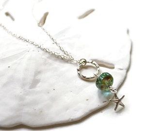 Starfish Necklace, Sterling Circle Necklace, Sterling Starfish Charm, Czech Glass Bead Necklace, Tiny Circle Pendant