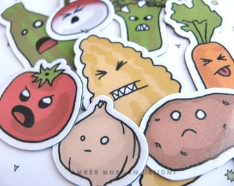 Refrigerator Magnets, Funny Vegetable Magnets, Angry Vegetables, Cute Magnets, Fridge Magnets, Kitchen Decor, Funny Magnets, Silly Magnets