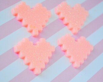 34mm Pastel Pink Glitter Pixel Heart Kawaii Flatback Resin Decoden Cabochons - 4 piece set