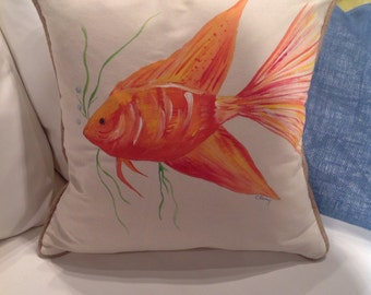 Hand painted, warm fish down pillow
