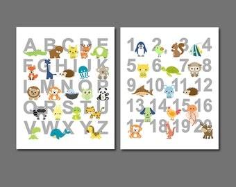 Colorful Animals Alphabet and numbers nursery art print - UNFRAMED - nursery wall art, kids room decor, 123, abc, playroom wall art