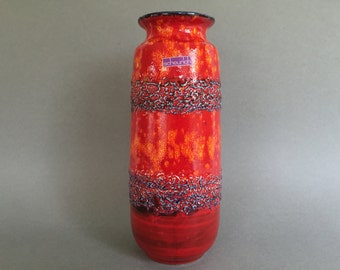 Scheurich  206 - 27 Mid Century Modern 1960s / 1970s orange red glossy glaze , blue Fat Lava  vase West Germany Pottery,  WGP vase.
