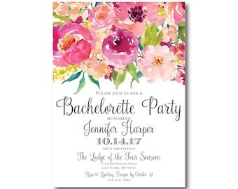 Bachelorette Party Invitation, Floral Bachelorette Party Invitation, Watercolor Flowers, Bachelorette Invitation, Party Invitation #CL117