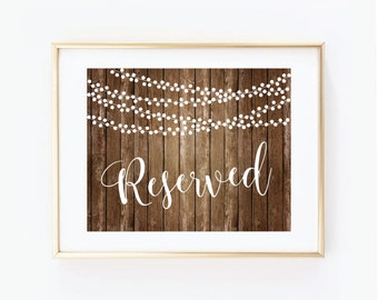 Printable Wedding Sign, Reserved Sign, Country Chic, Fall Wedding, Rustic Wedding, Reserved Wedding Sign, Printable Reserved Sign #CL152