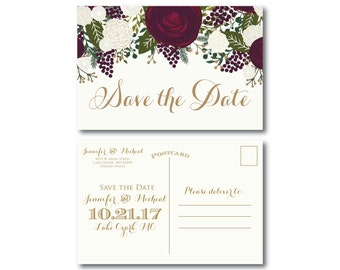 Vintage Wedding Save the Date, Fall Wedding, Vintage Floral, Floral Wedding, Vintage Wedding, Save the Date, Wedding Postcards #CL158