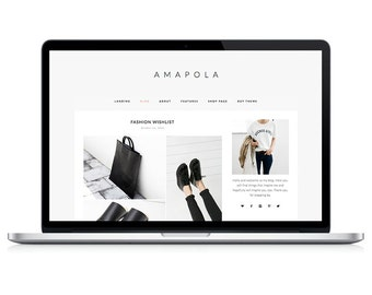 Wordpress Theme - Amapola - Responsive Wordpress Blog Design - Wordpress WOOCOMMERCE - Wordpress Theme Feminime - Wordpress Theme Modern