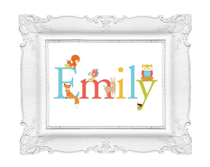 Name Wall Art - Customized Name Wall Art, Printable Art - Nursery Art - DIY Art - Woodland Name Art