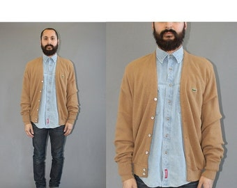 ON SALE Vintage Izod Lacoste Light Brown Cardigan Sweater - Alligator Sweater - Lacoste Cardigan - Lacoste Sweater - XL