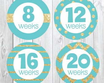 Glitter and Teal Pregnancy Stickers, Pregancy Stickers, Maternity Stickers, Belly Bump, Baby Bump, New Mom, Gold Glitter Stickers