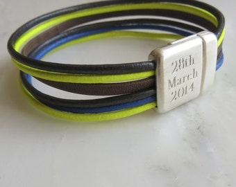 Personalised Neon Mix Leather Cord Bracelet (Festival)