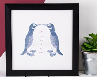 Penguin Print; Love Gift; Kissing Penguins Print; Love Quote; Kiss Quote; Love Gift; Engagement Gift; Love Gift For Her; AP004