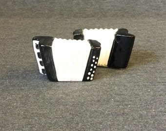 Vintage Black and White Accordion Instrument Salt & Pepper Shakers - Japan