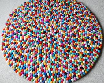 100cm Multicoloured Felt ball Rug, Round Felt Rug, Kids Bedroom Rug,  Colourful Pom Pom Rug, Boys Feltball Rug, Girls