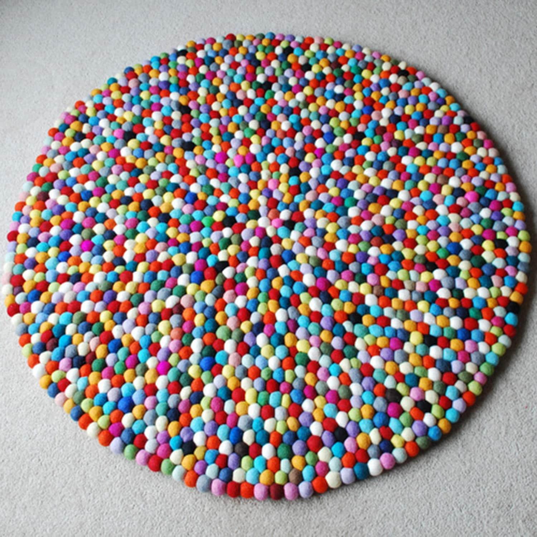100cm Multicoloured Felt Ball Rug Round Felt By