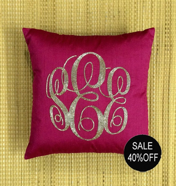 Decorative Monogram Pillow : 40% OFF Monogram Pillow Sequin Decorative Pillow Personalized