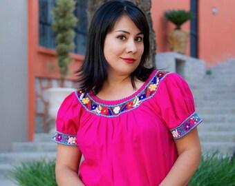 "L-XL Mexican embroidered blouse, ""Hot Pink"" Medium Large, Cotton ethnic shirt, Frida Kahlo blouse, Boho blouse"